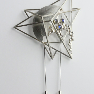 Morphology Brooch III. Double pin brooch, sterling silver with labradorite cabochons. £1,100.