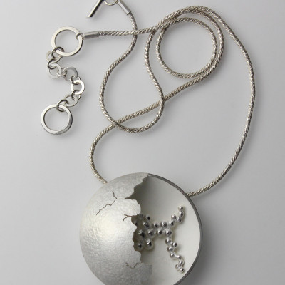 Morphology Pendant III. Large pendant, sterling silver with hand pierced detail, £550.