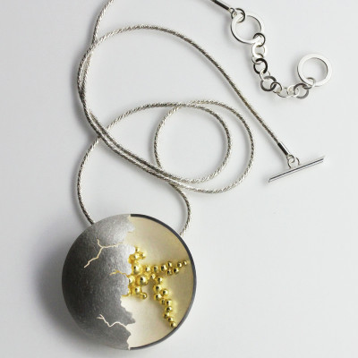 Morphology Pendant IV. Large pendant, sterling silver with 18 carat gold centre, P.O.A