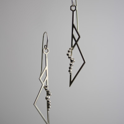 Morphology Earrings V. Hooked earrings, sterling silver, £150.