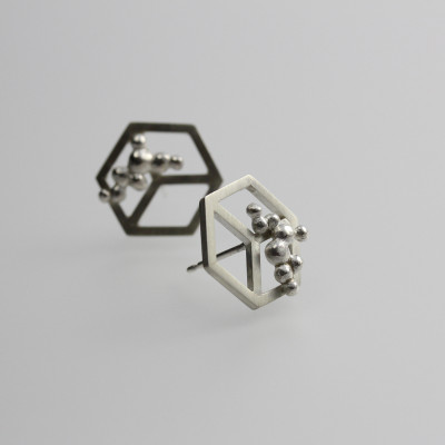 Morphology Studs III. Stud earrings, sterling silver, £105.