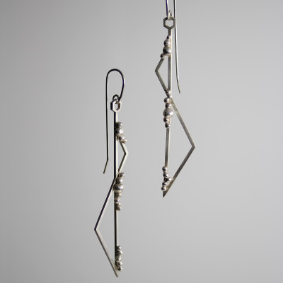 Morphology Earrings IV. Hooked earrings, sterling silver, £150.