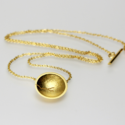 Morphology Pendant VI. Tiny pendant - sterling silver with 22ct gold plate, £145. (Also available in 18ct gold: made on commission)