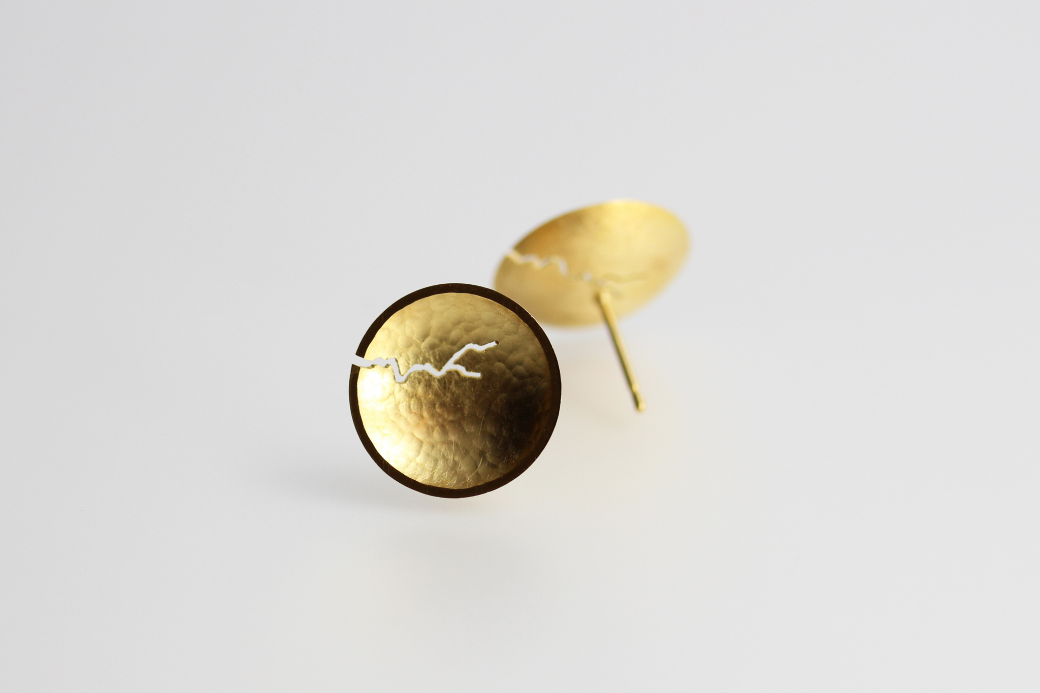Morphology Studs II. Sterling silver with 22ct gold plate, £130. (Also available in 18ct gold: made on commission)