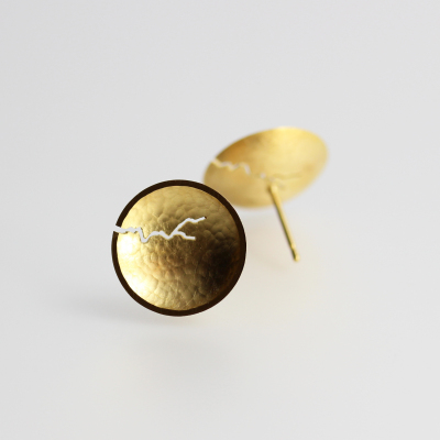 Morphology Studs II. Sterling silver with 22ct gold plate, £145. (Also available in 18ct gold: made on commission)