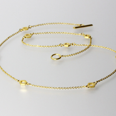 Isometric Chain. Fine chain necklace, sterling silver plated with 22ct gold, £150.
