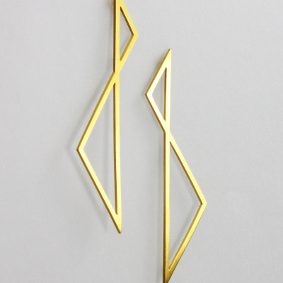 Isometric Earrings I. Long stud earrings, sterling silver plated with 22ct gold, £130.