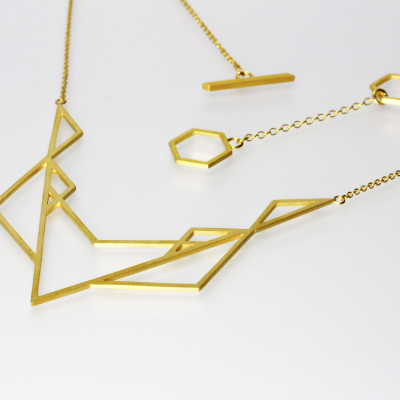 Isometric Necklace II. Sterling silver plated with 22ct gold, £220.