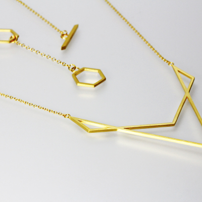 Isometric Necklace III. Sterling silver plated with 22ct gold, £190.