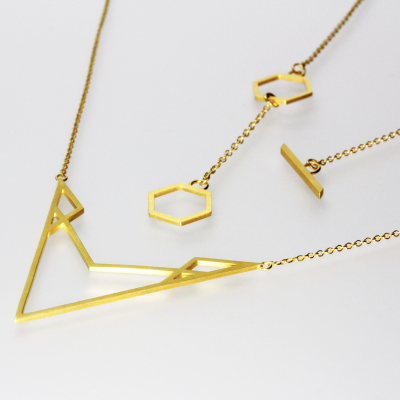 Isometric Necklace IV. Sterling silver plated with 22ct gold, £200.