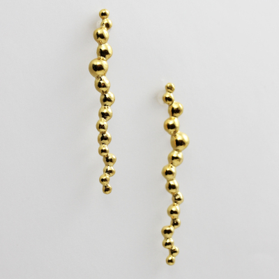 Morphology Earrings III. Sterling silver with 22ct gold plate, £125. (Also available in 18ct gold: made on commission)