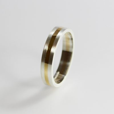 Isometric Banded Ring. Sterling silver and 9ct gold. £175