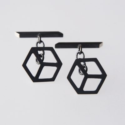 Isometric Cufflinks. Sterling silver, part oxidised. £130