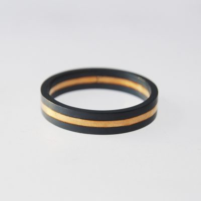 Isometric Banded Ring. Oxidised sterling silver and 9ct gold. £175