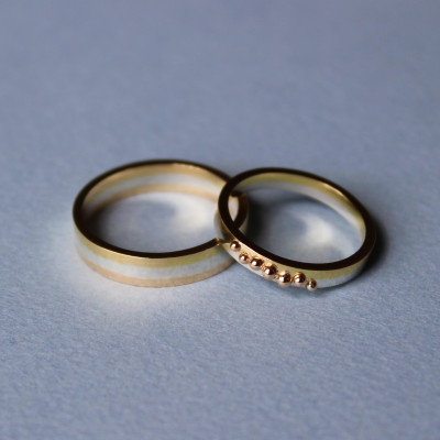 Pair of wedding bands in silver, 9ct and 18ct gold, created from repurposed family heirlooms. May 2015