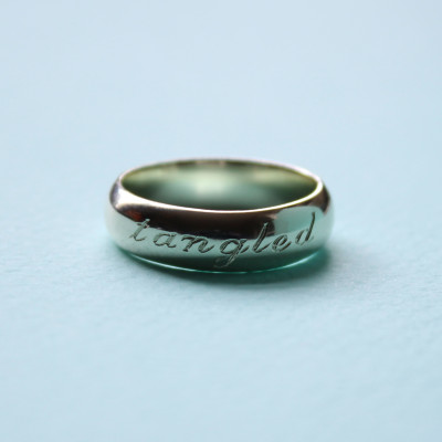 White gold wedding band with personalised inscription. July 2015