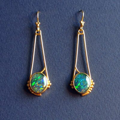 Art nouveaux inspired opal earrings in 22ct gold vermeil. August 2016