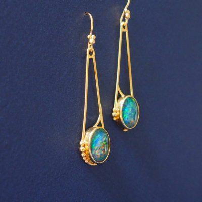 Art nouveaux inspired opal earrings in 22ct gold vermeil. August 2016