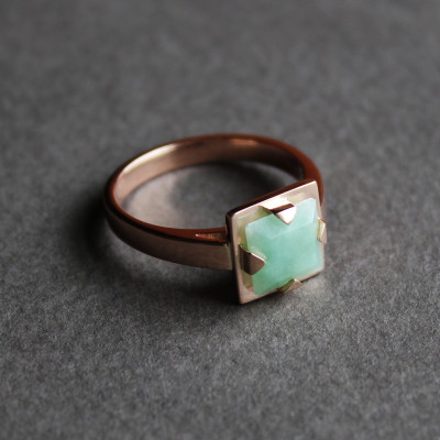 Square cut jade and rose gold engagement ring, inspired by Art Deco jewellery. April 2015
