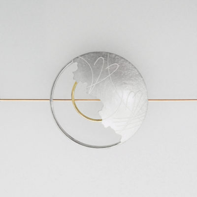 Chromos Brooch. Etched brooch, sterling silver and 9ct gold. £800