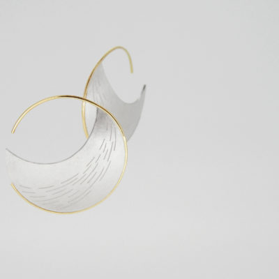 Cirrus Earrings. Etched earrings, sterling silver and 9ct gold. £350