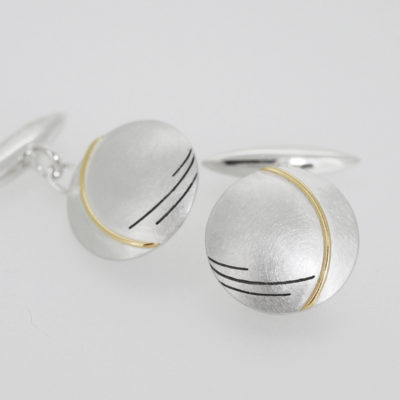 Epsilon Cufflinks. Etched and oxidised cufflinks, sterling silver and 9ct gold. £350