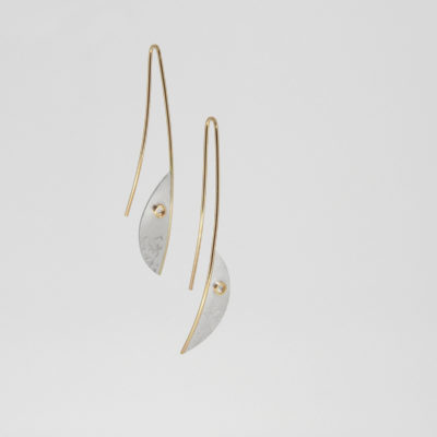 Gale Earrings - Light. Etched earrings, sterling silver and 9ct gold. £320