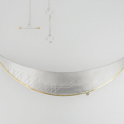 Horizon Necklace - Light. Etched necklace, sterling silver and 9ct gold with smoky grey diamond. £1,050