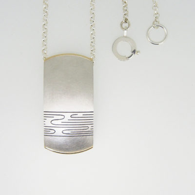 Juno Pendant. Etched and oxidised pendant, sterling silver and 9ct gold. £320