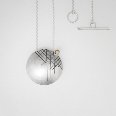 Kopra Pendant - Dark. Etched and oxidised pendant, sterling silver and 9ct gold. £320