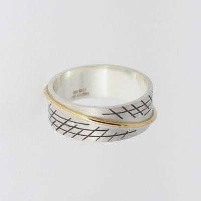 Saturn B Ring - Dark. Etched and oxidised ring, sterling silver and 9ct gold. £295
