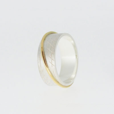 Saturn B Ring - Light. Etched ring, sterling silver and 9ct gold. £295