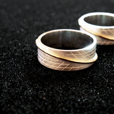 Sterling silver, 9ct gold. Hand etched.